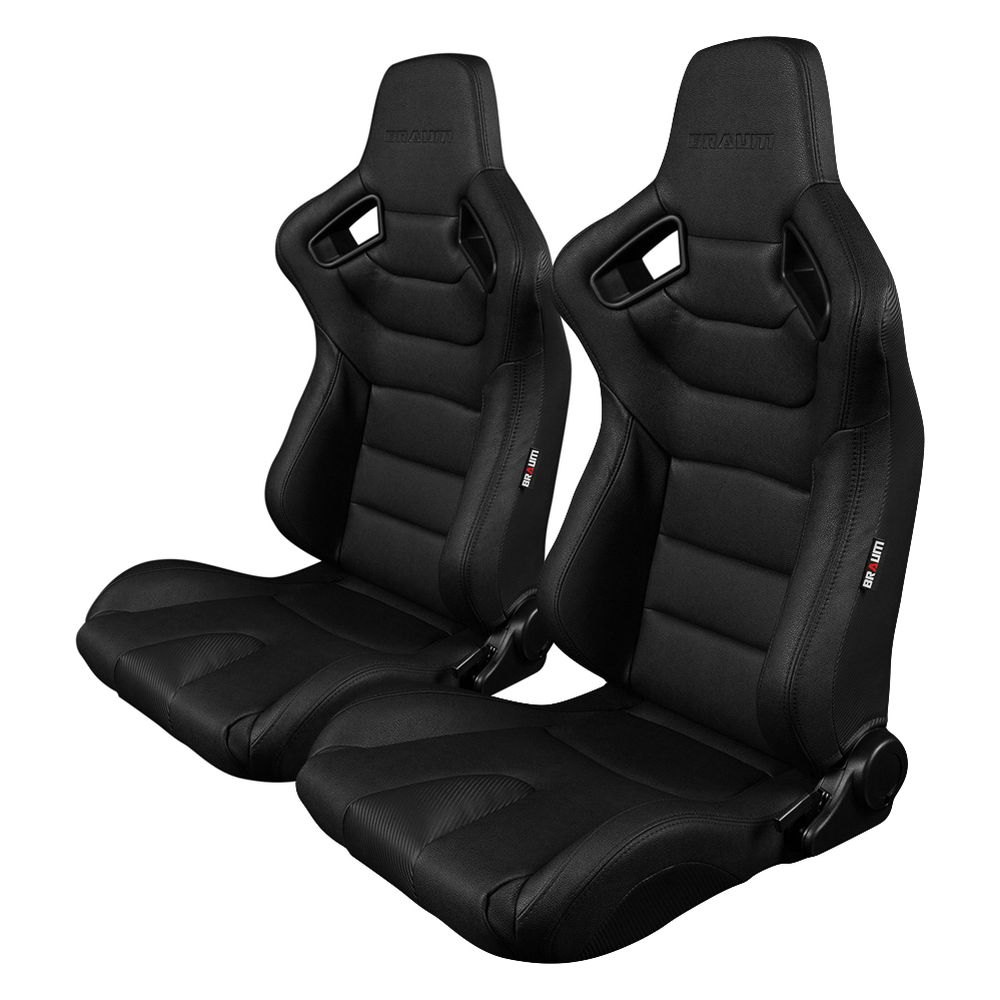 braum brr1 bkbs elite series sport seats black leatherette black stitches. Black Bedroom Furniture Sets. Home Design Ideas