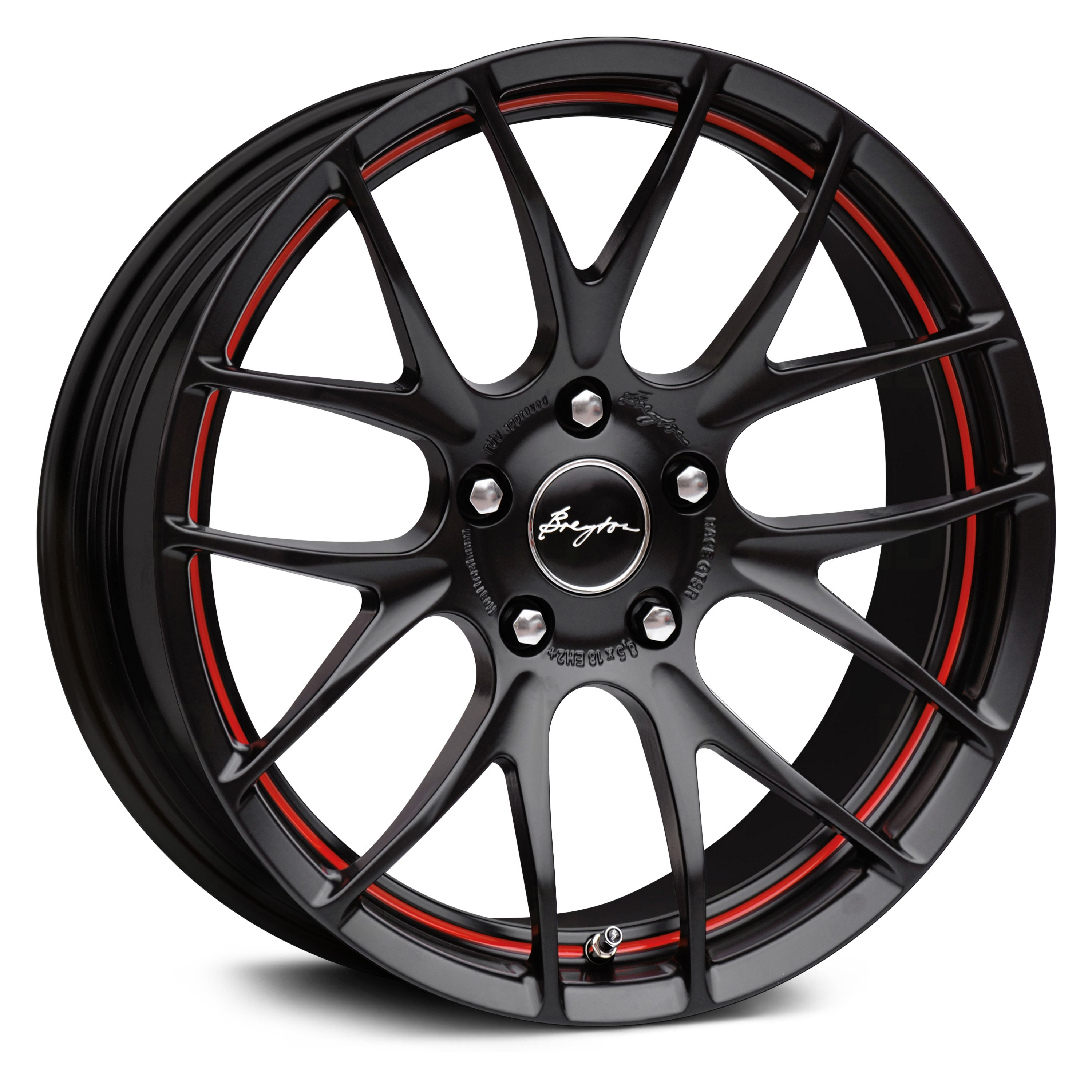 breyton race gts r wheels matte black with red undercut. Black Bedroom Furniture Sets. Home Design Ideas