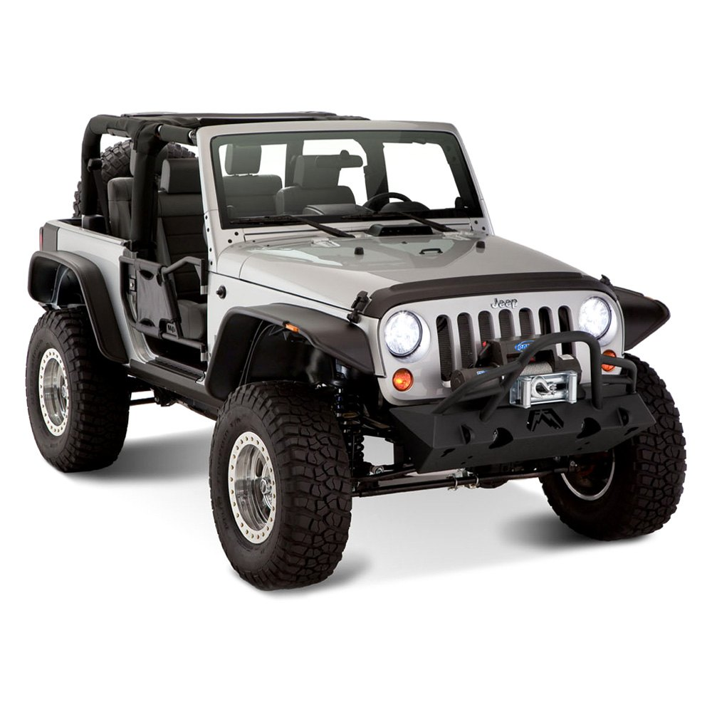 For Jeep Wrangler 07-17 Flat Style Matte Black Front