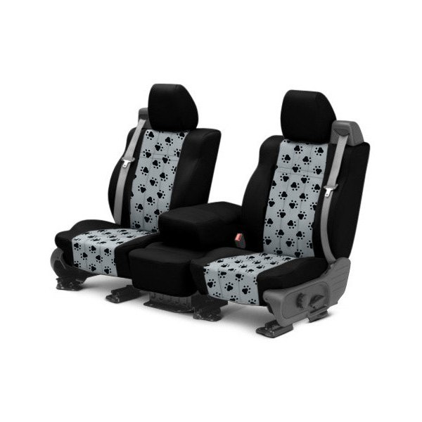 CalTrend® - Front Pet Print Black with Light Gray Custom Seat Covers