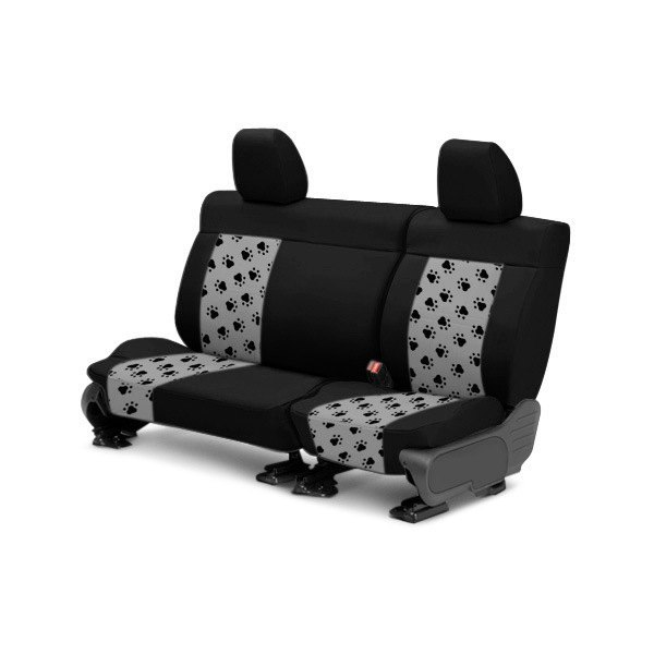 pet print black with light gray custom seat covers caltrend cloth seat