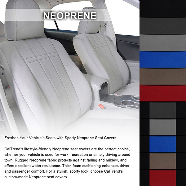 2nd Row Neoprene Black With Blue Custom Seat Coverscaltrend Charcoal