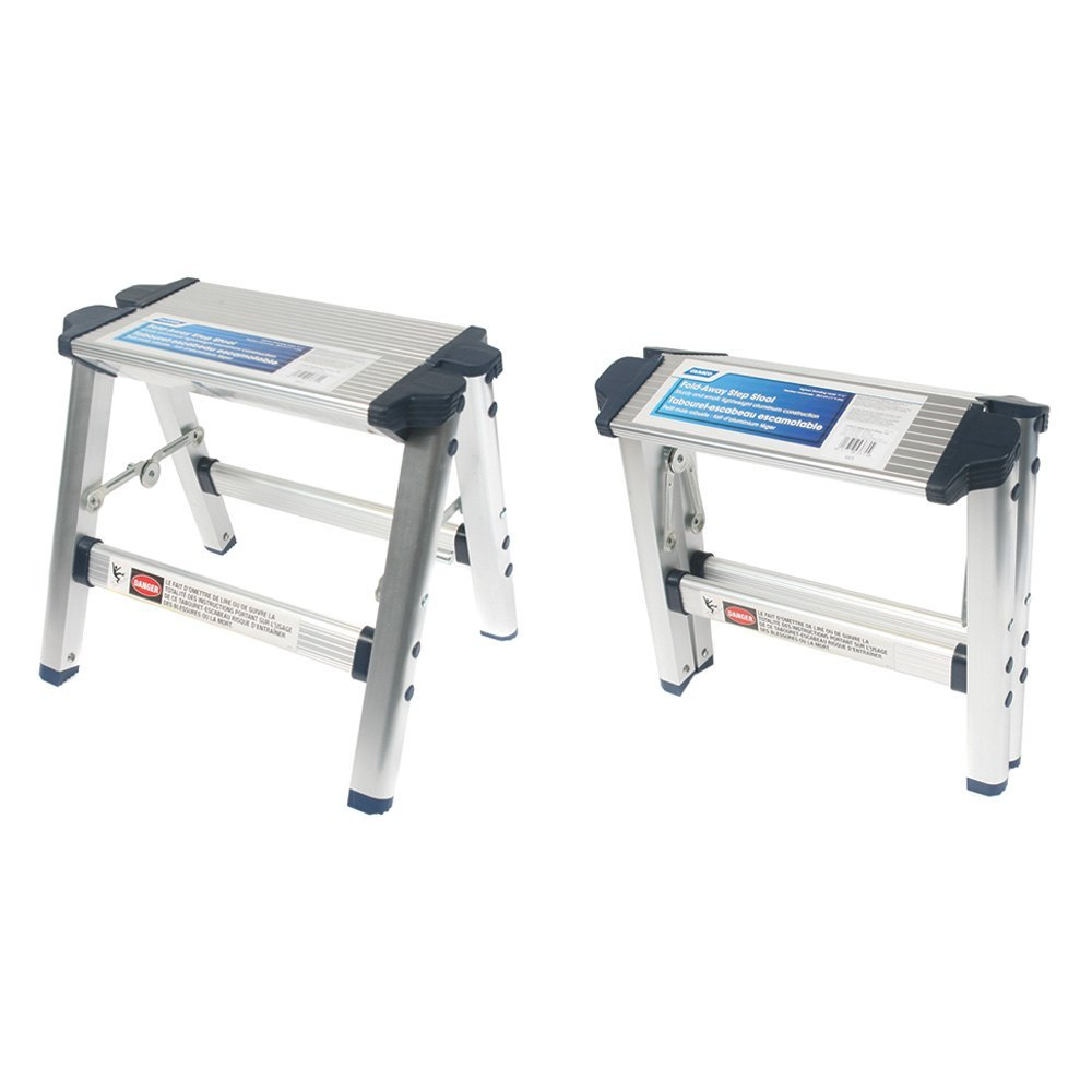 Camco Fold Away 13 Quot L Aluminum Silver Step Stool Ebay