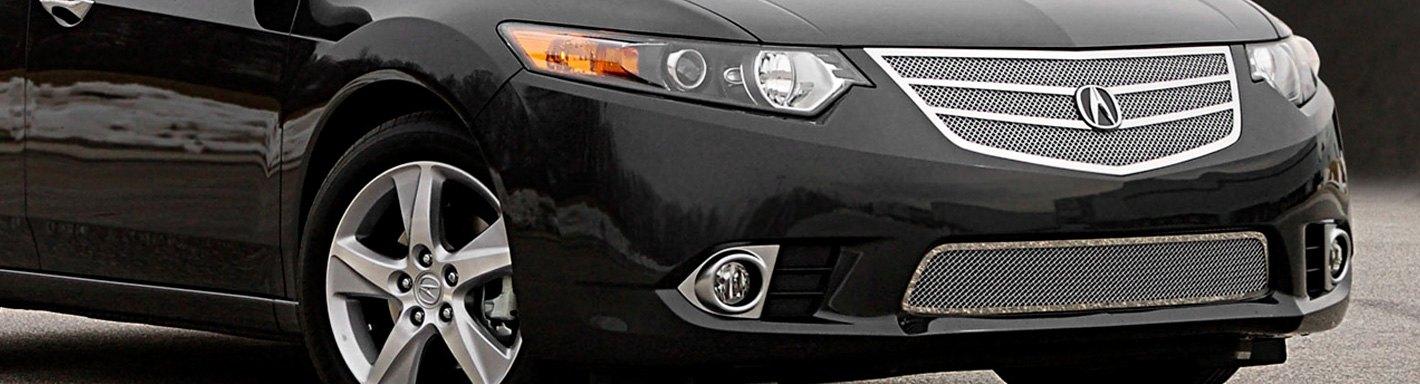 Acura TSX Custom Grilles Billet Mesh LED Chrome Black - Acura tsx grill