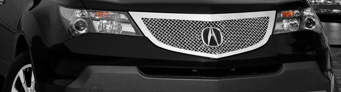 Acura MDX Custom Grilles Billet Mesh CNC LED Chrome Black - Acura mdx front grill