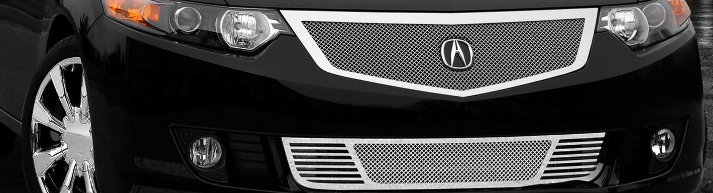 Acura TSX Custom Grilles Billet Mesh CNC LED Chrome Black - 2018 acura tsx grill replacement