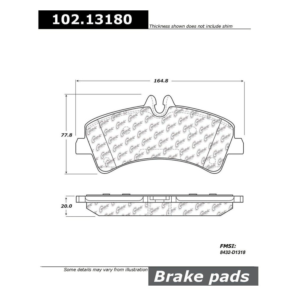 Centric® 102.13180 - C-Tek™ Semi-Metallic Rear Disc Brake Pads