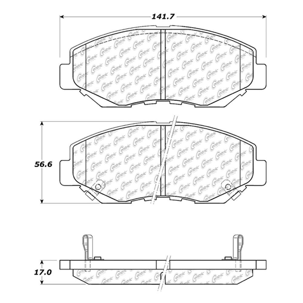 honda civic 2013 2018 centric posi quiet premium ceramic front rh ebay com brake pad replacement diagram ebc brake pad diagrams