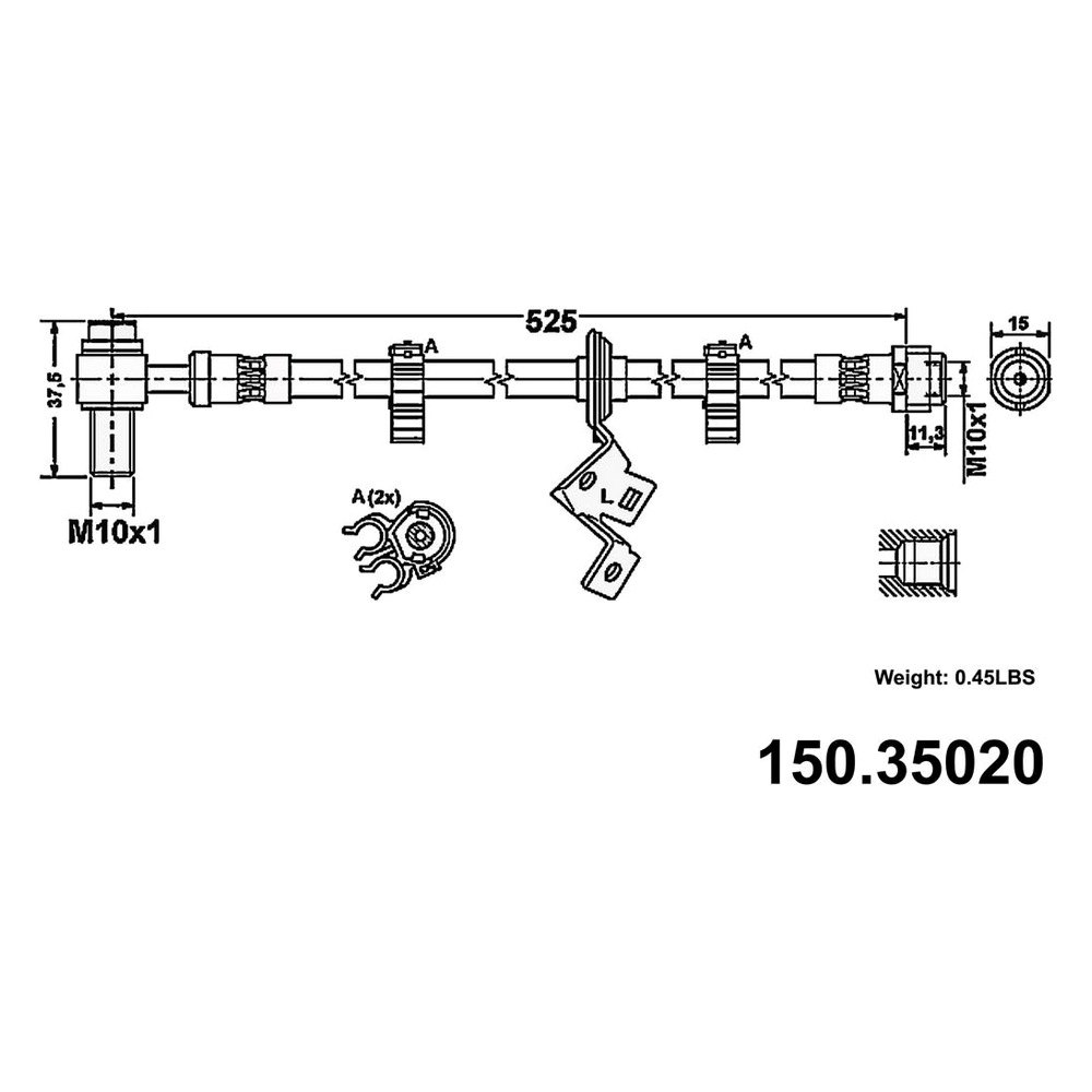 Rr Brake Hose  Centric Parts  150.35314