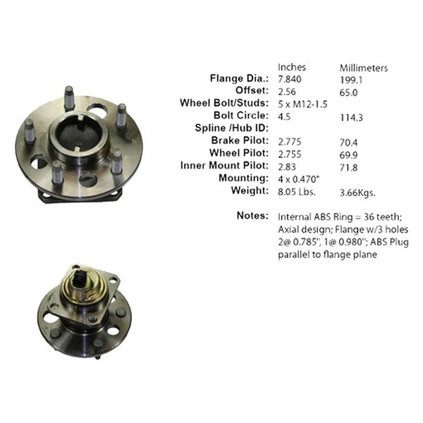 Centric 405.62000 Premium Axle Bearing and Hub Assembly