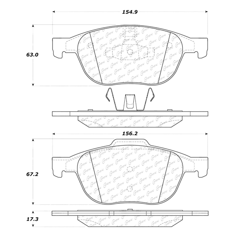 centric 105 10440 posi quiet premium ceramic front disc brake pads rh carid com Dodge Rear Brake Diagram Rear Brake Assembly Diagram