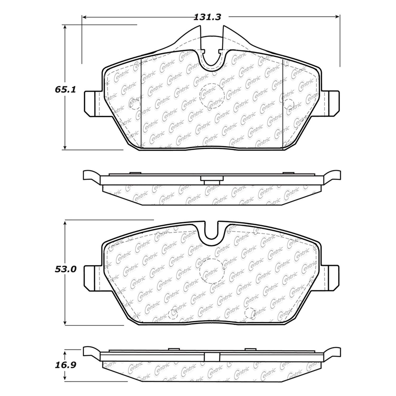 Centric 30013080 Premium Semi Metallic Front Disc Brake Pads Pad Diagram Padscentric