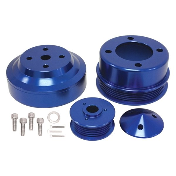1979-1993 fits Ford 5.0L Steel Serpentine Underdrive Pulley Set Powdercoated