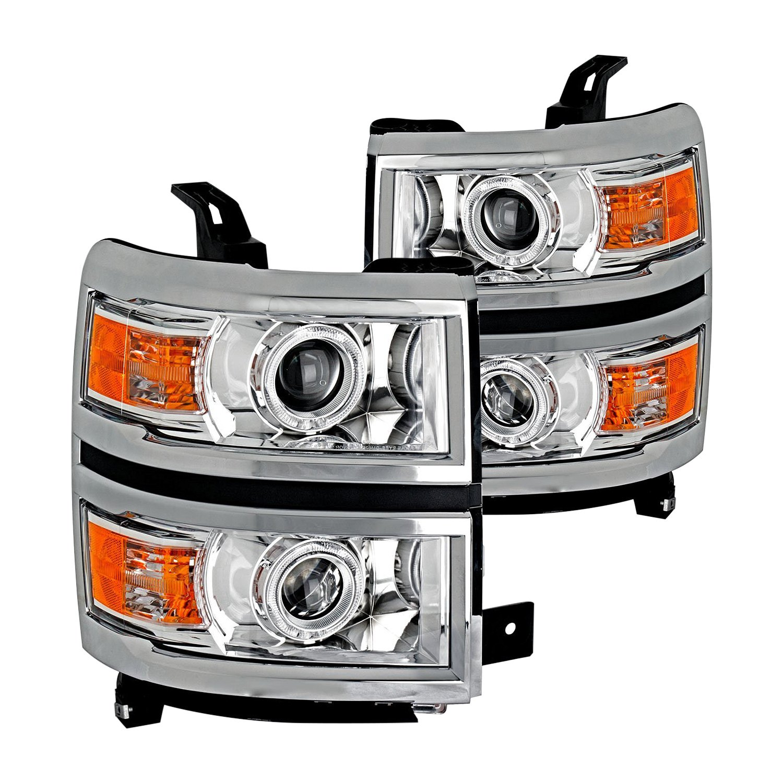 cg chevy silverado 1500 2014 chrome halo projector led headlights. Black Bedroom Furniture Sets. Home Design Ideas