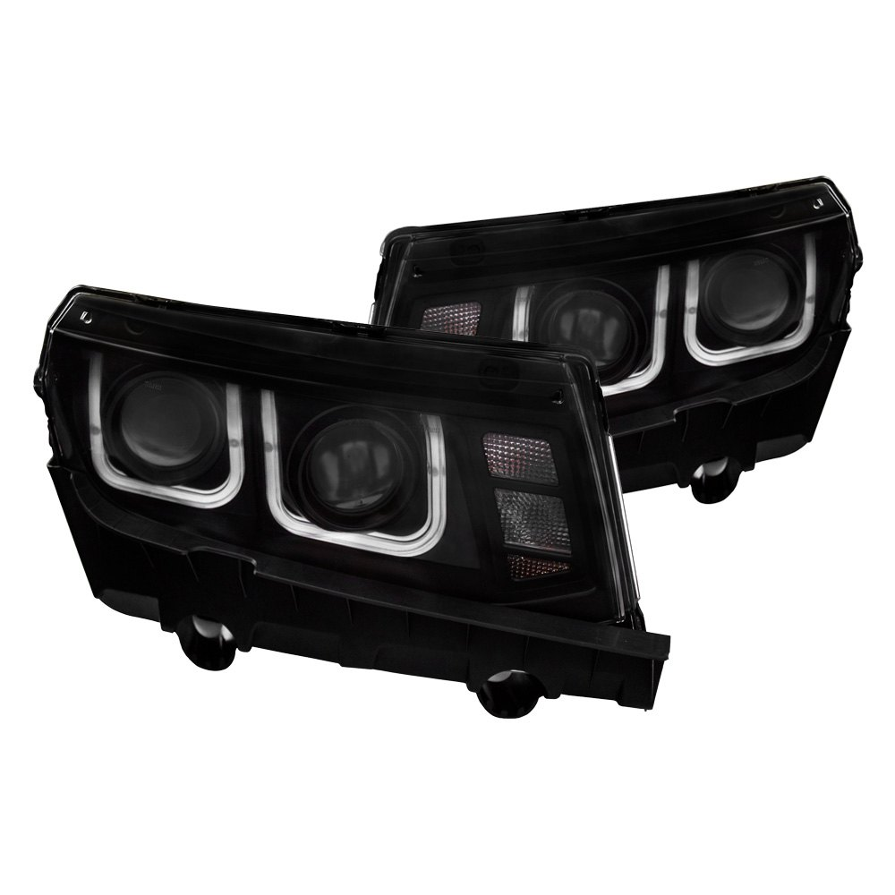 Cg chevy camaro ls lt ss z28 with factory halogen cg black led drl bar projector headlights aloadofball Image collections
