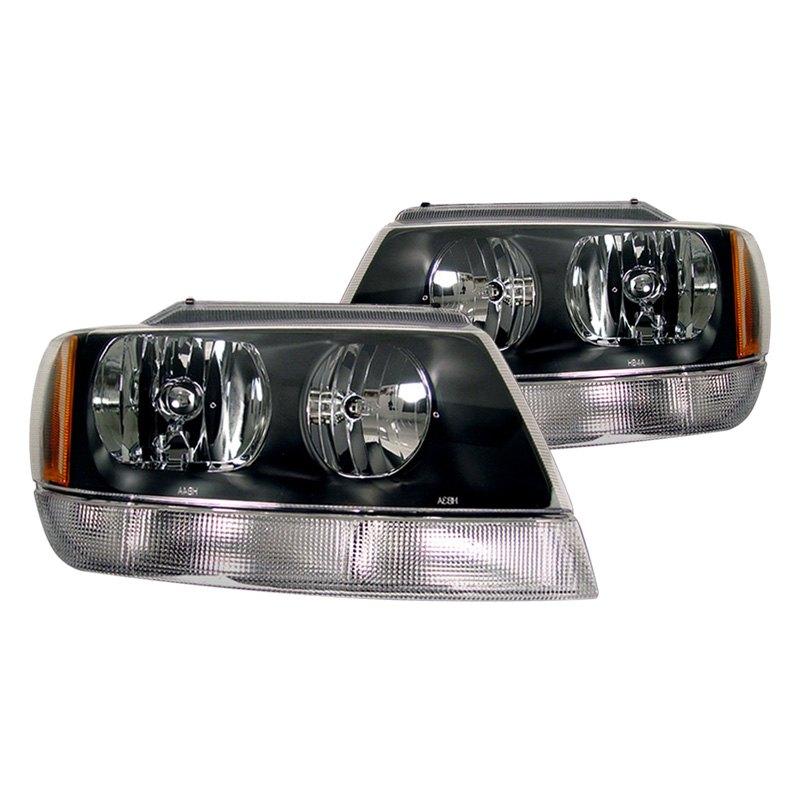 cg jeep grand cherokee 2002 2004 black euro headlights. Black Bedroom Furniture Sets. Home Design Ideas