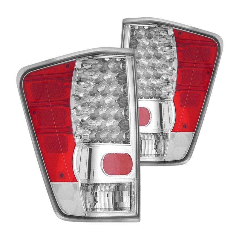 Cg 174 Nissan Titan 2006 Chrome Red Led Tail Lights