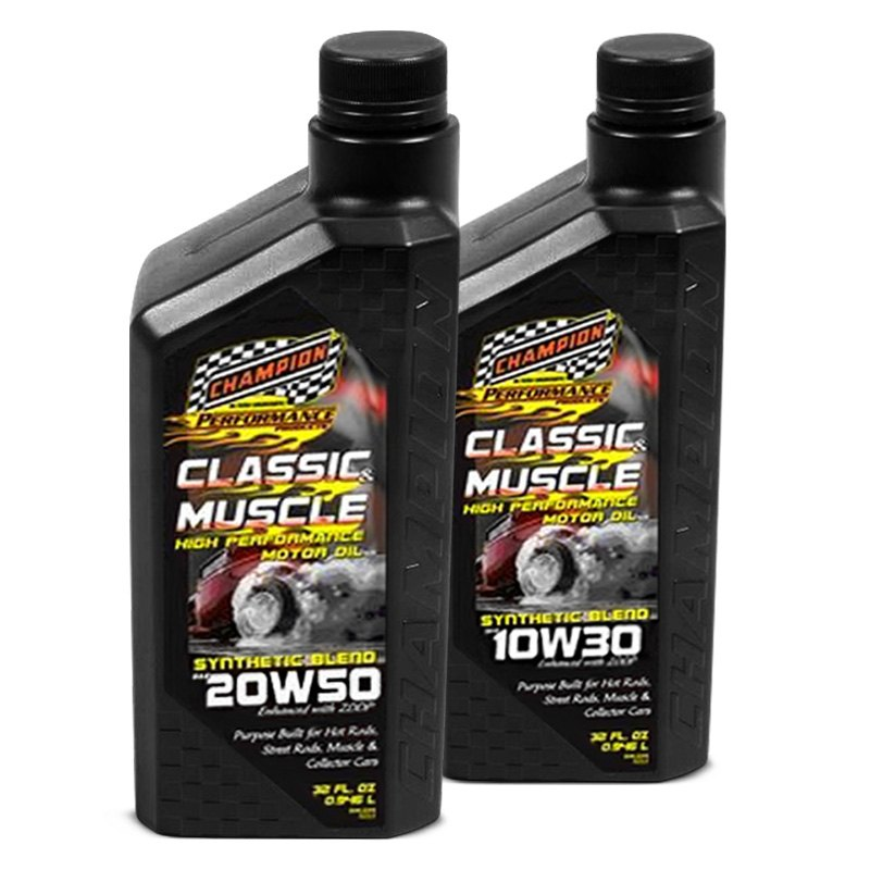 Champion brands classic muscle synthetic blend motor oil for Racing motor oil brands