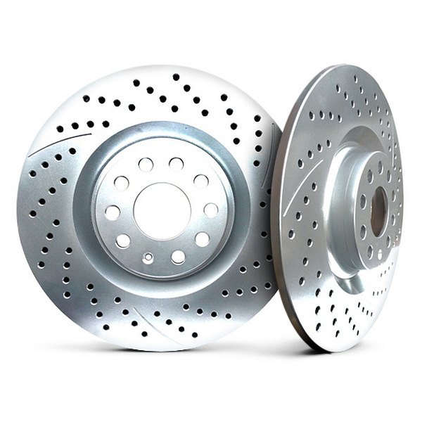 Chrome Brakes® CBX1.1109.0638C - Drilled and Slotted Solid 1-Piece Rear Brake Rotors