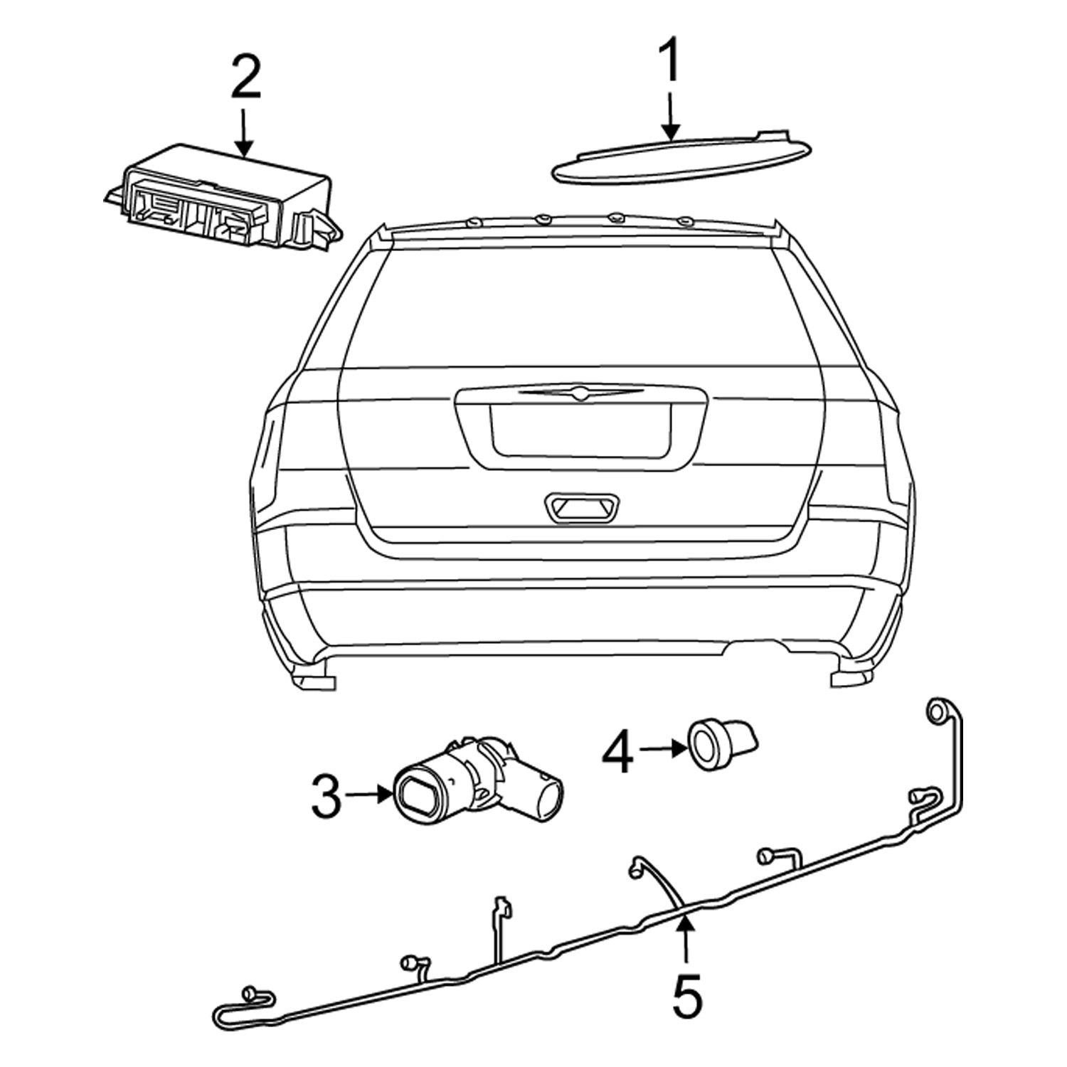 Chrysler OE 5113114AE - Rear Parking Aid System Wiring Harness [ 1500 x 1500 Pixel ]