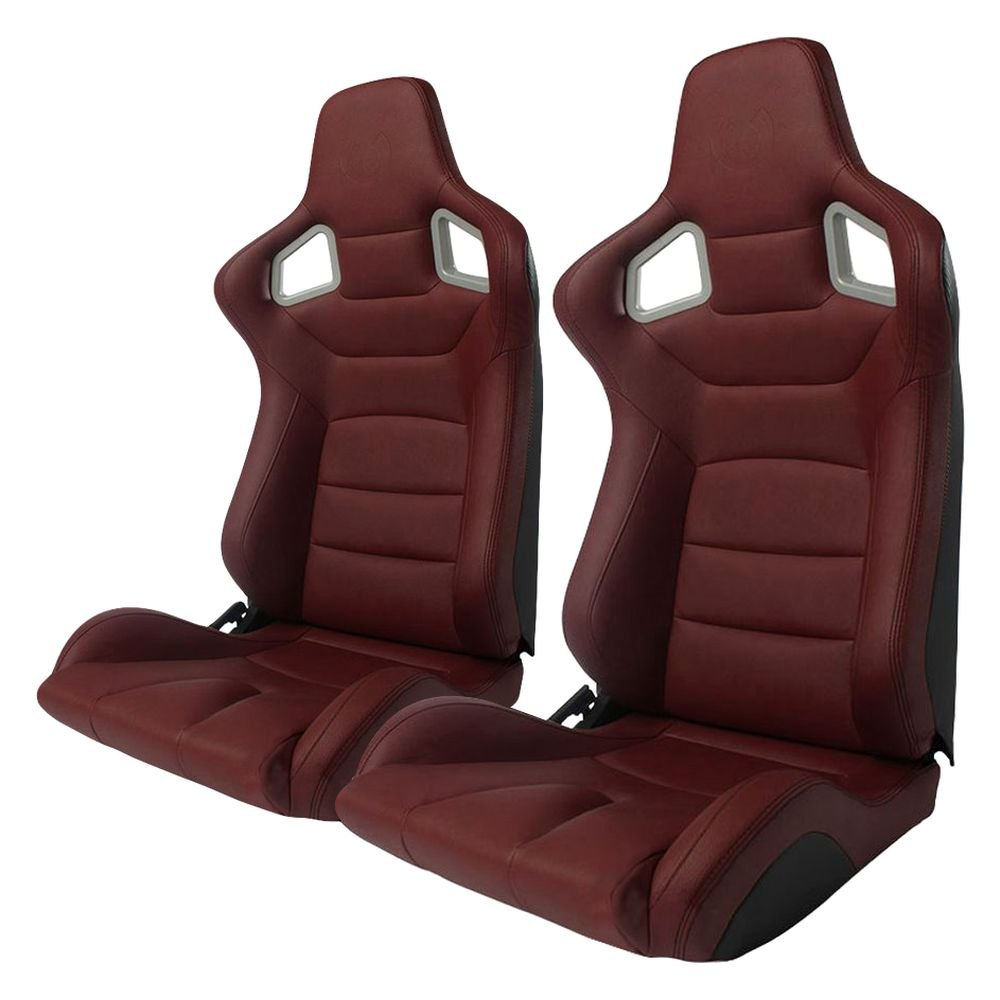 Charmant Cipher Auto®   CPA2001 Euro Series Reclinable Steel Tubular Frame Racing  Seats, Maroon Leatherette