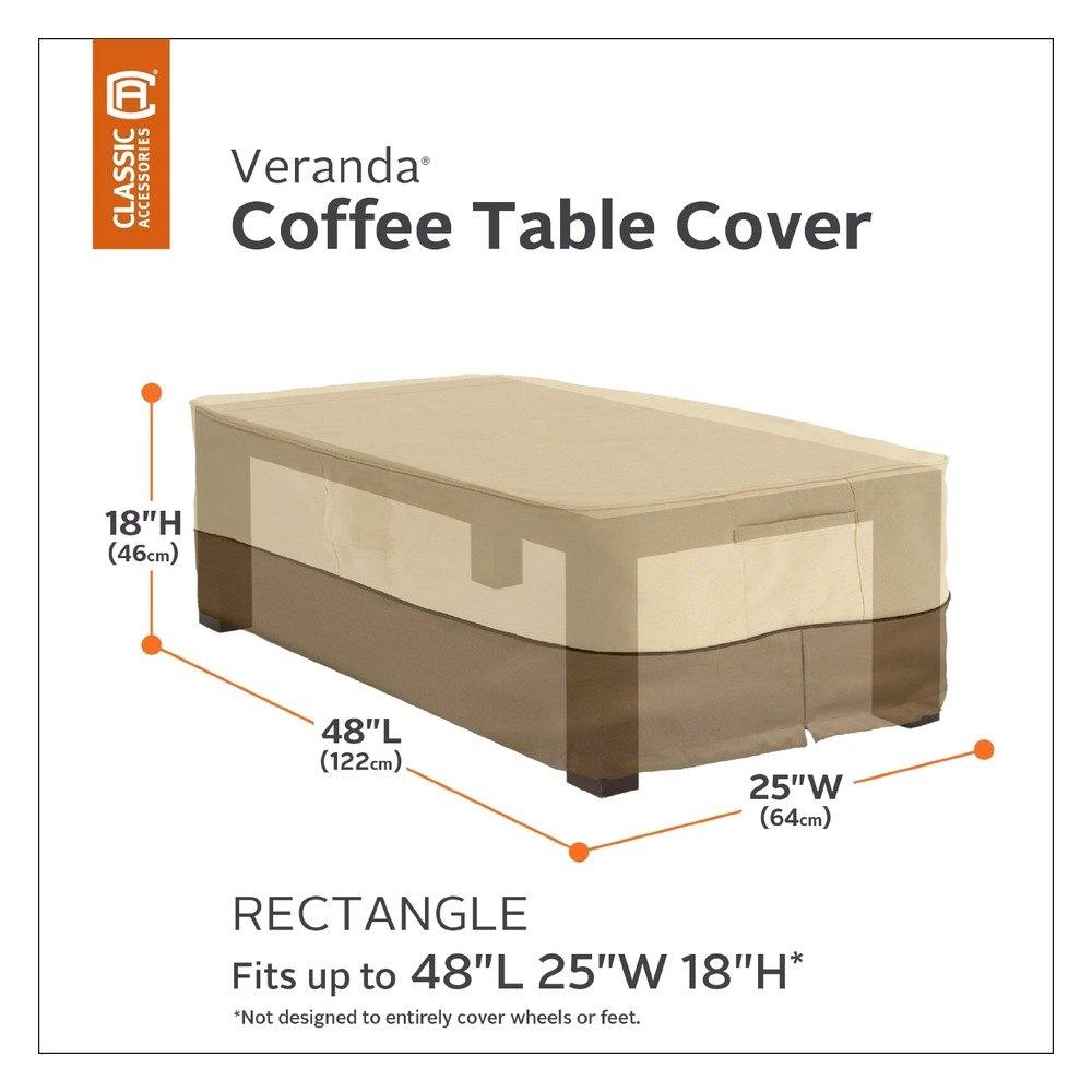 Classic Accessories 55 121 011501 00 Veranda Rectangular Coffee Table Cover