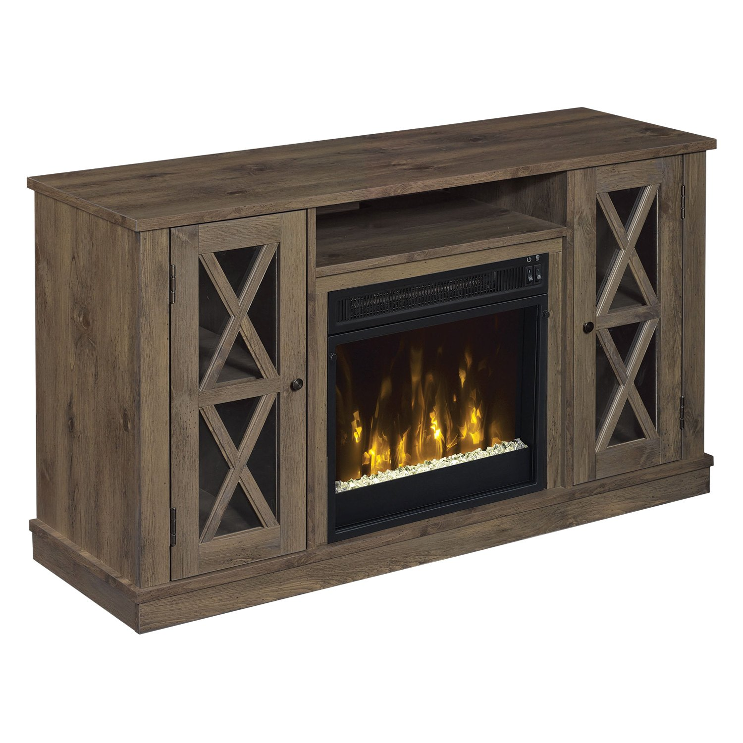 "Bayport TV Stand with 18"" Electric Fireplace - Part Number 18MM6092-PI14S by Classic Flame. Color: Spanish Gray. For TVs up to 55"" or up to 45 lb. Home & Appliances."
