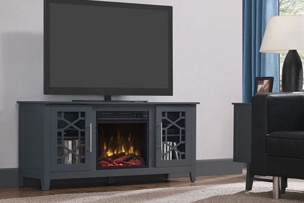 "Clarion TV Stand with 18"" Electric Fireplace - Part Number 18MM8951-F965S by Classic Flame. Color: Cool Gray. For TVs up to 60"" or up to 75 lb. Home & Appliances."