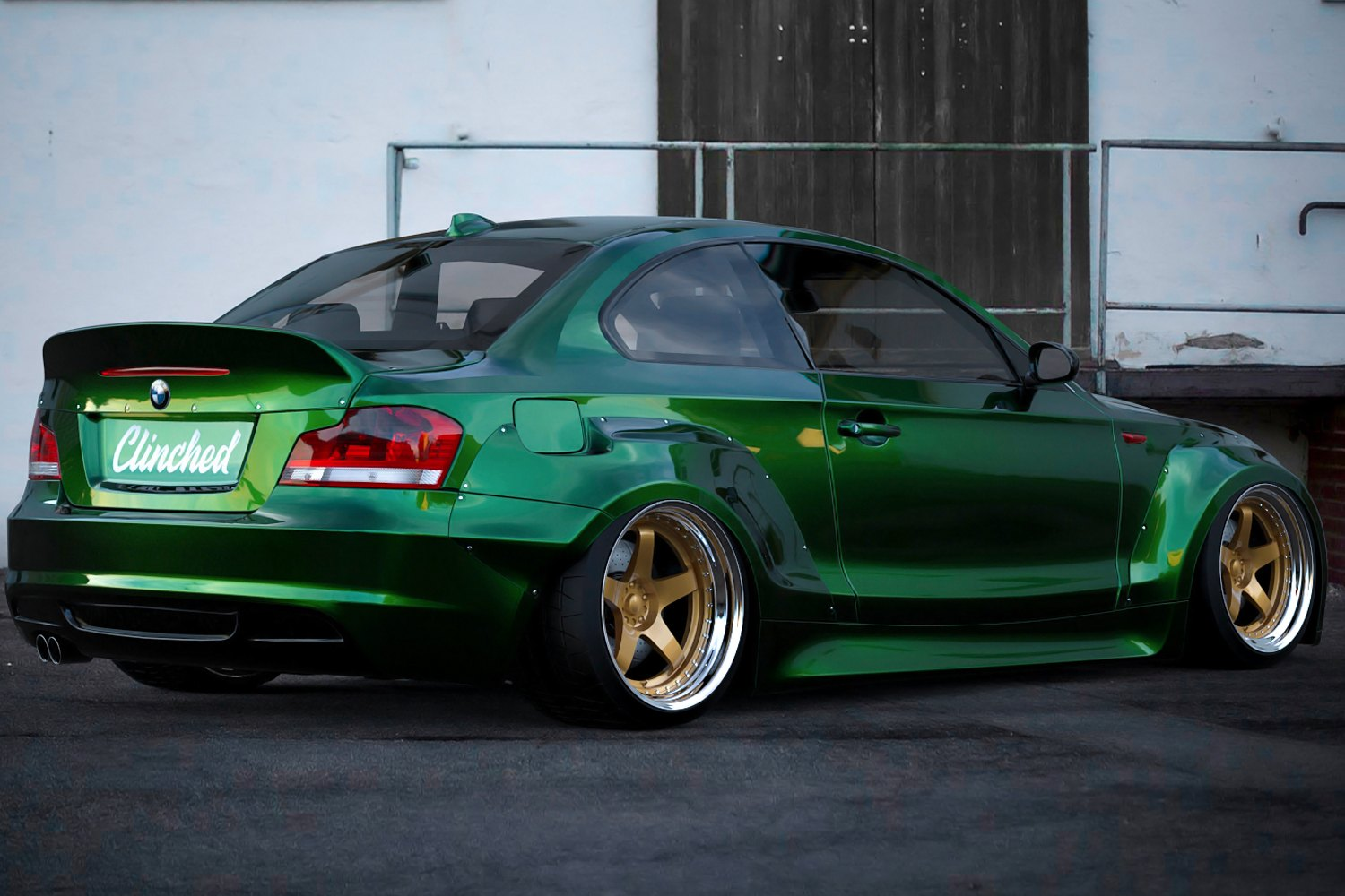clinched flares bmw e82wd wide body kit unpainted. Black Bedroom Furniture Sets. Home Design Ideas