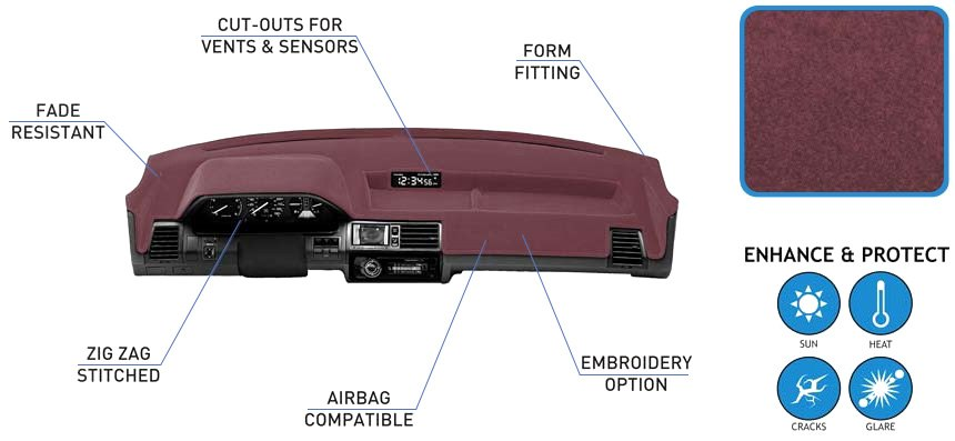 ... vents, or other cutouts are adjusted for a complete custom fit. No need  to compromise quality or style when you are looking for a durable dash cover .
