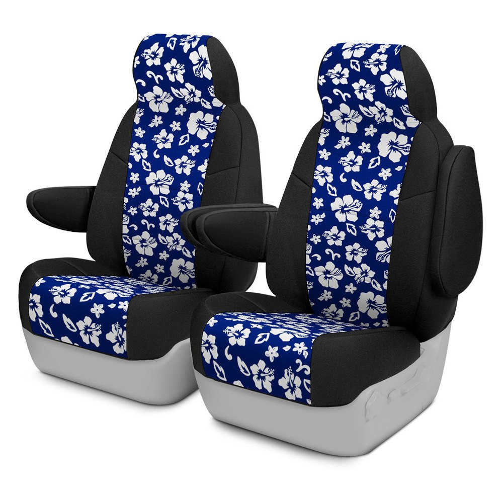 Hawaiian Car Seat Covers >> Coverking Csc2pd15ki9455 Neosupreme 1st Row Black Blue Hawaiian Custom Seat Covers