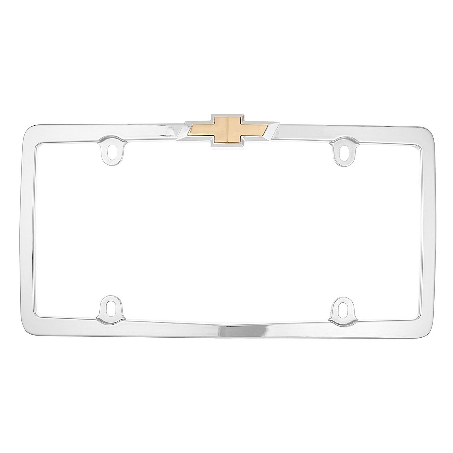 Cruiser® 10437 - Chrome License Plate Frame with Gold Chevy Logo