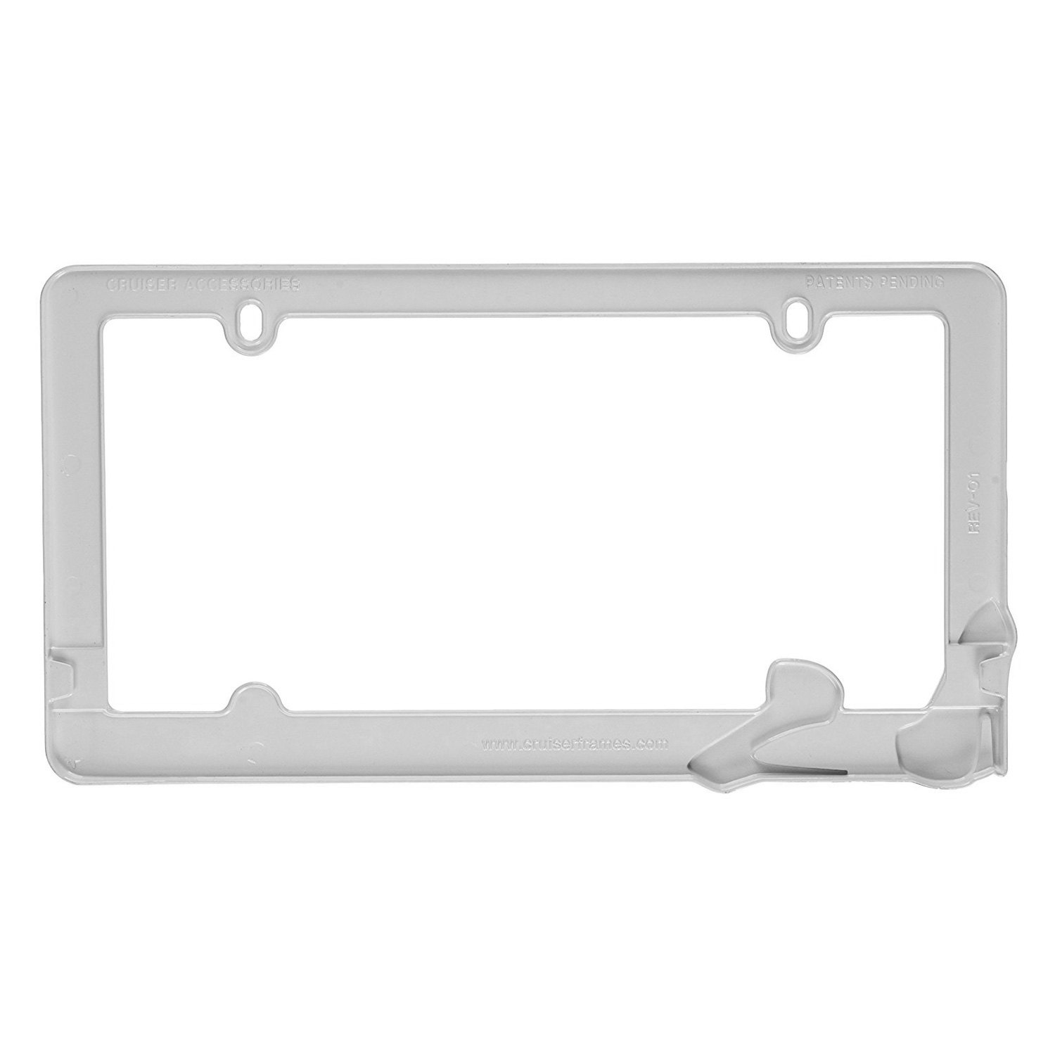 Cruiser 174 22001 Stiletto Style White License Plate Frame
