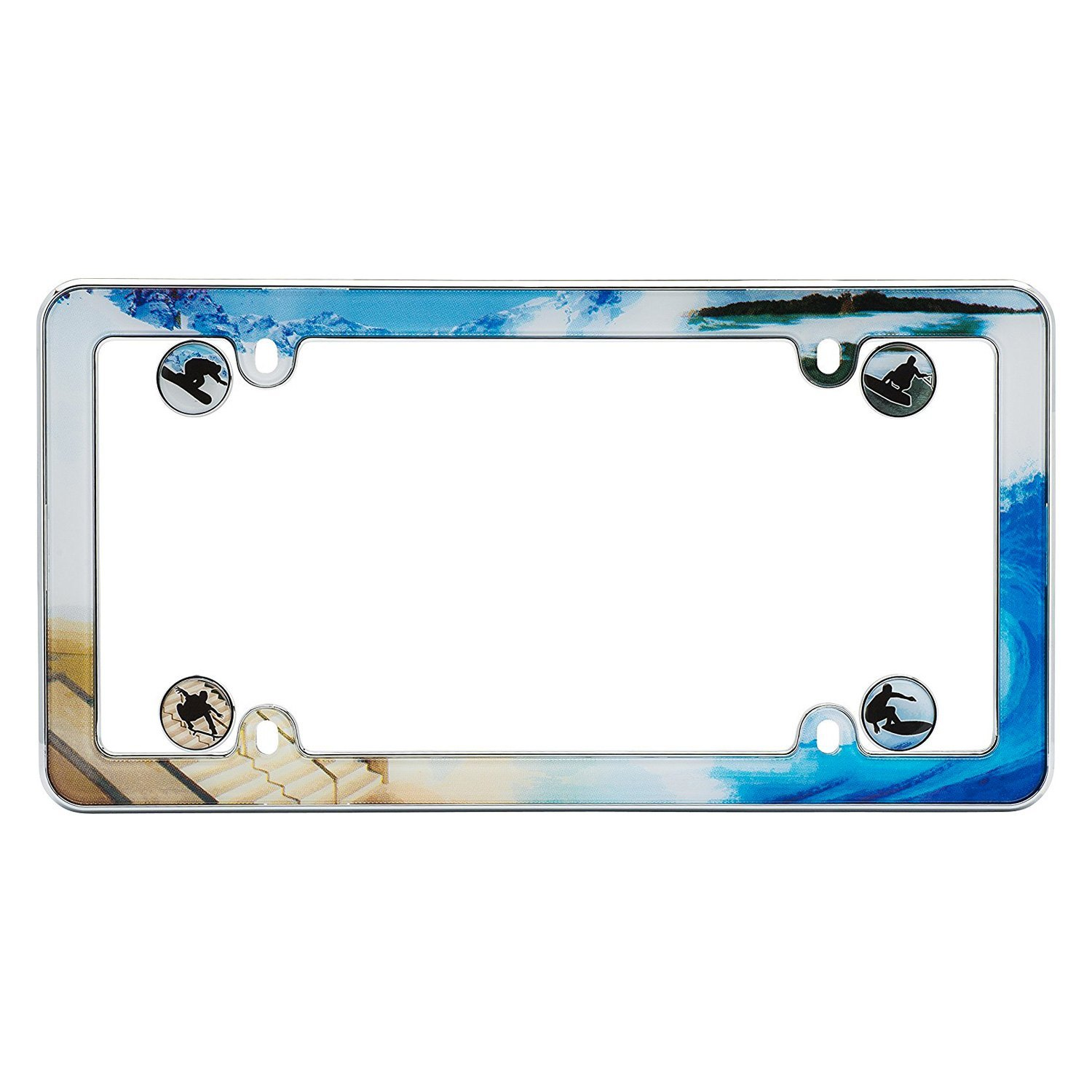 Cruiser® 23001 - Boarder Style Chrome License Plate Frame with ...