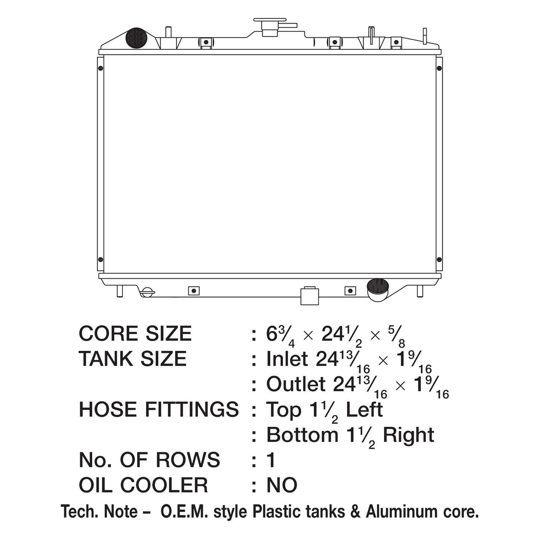 Radiator-1 Row Plastic Tank Aluminum Core CSF 3048