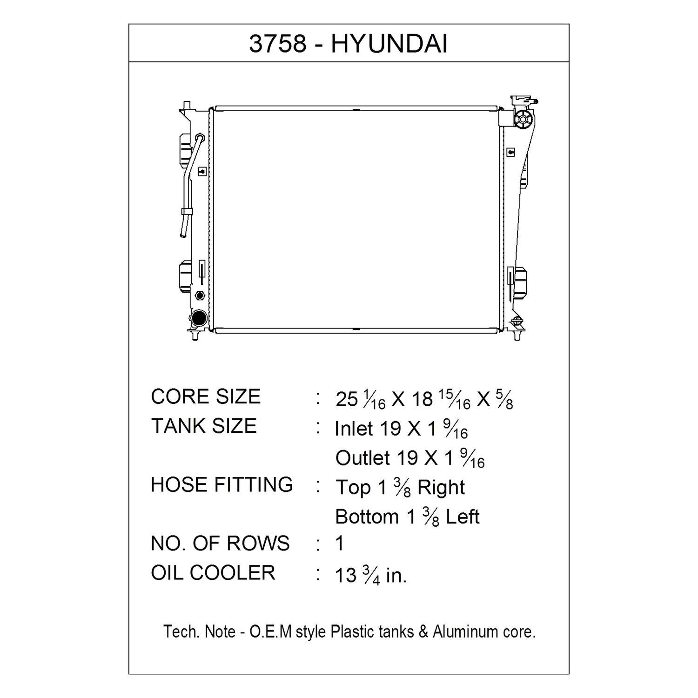 Csf 3758 Engine Coolant Radiator Hyundai