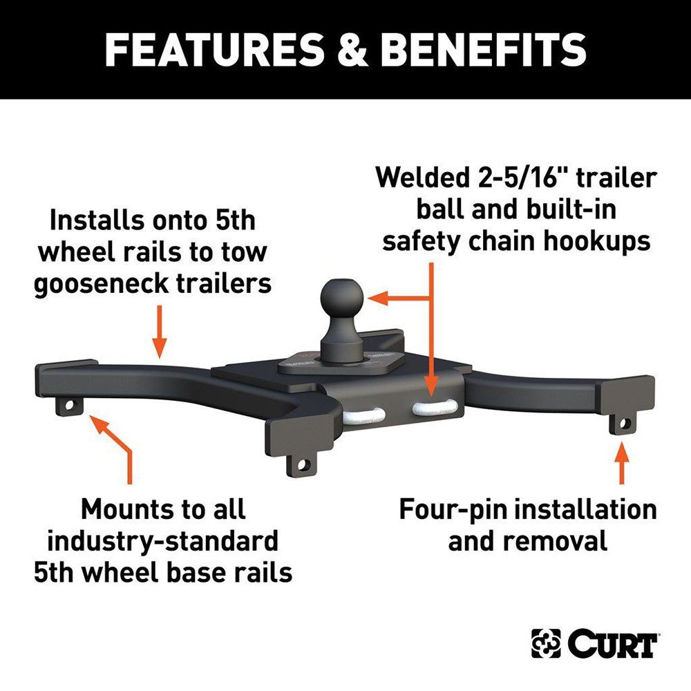 5th Wheel Gooseneck Hitch >> Curt 5th Wheel Rail Gooseneck Hitch With 2 5 16 Trailer Ball
