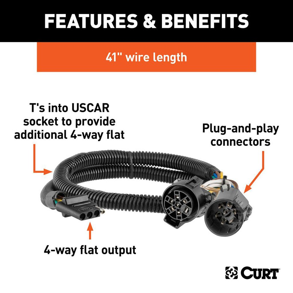 Curt 55384 T Connector Adds 4 Flat To Factory Equipped 7 Way 2013 Traverse Trailer Wiring Harness Connectorcurt