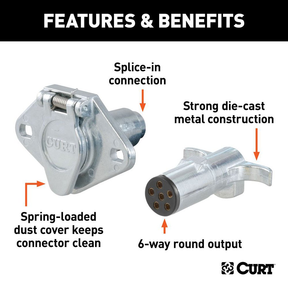 Curt 6 Way Round Connector Pole Trailer End Vehicle And Plug Socketcurt Wire Die Cast Socket