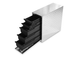 Dee Zee® - Wheel Well Brite Diamond Tread Aluminium Tool Box with Drawers