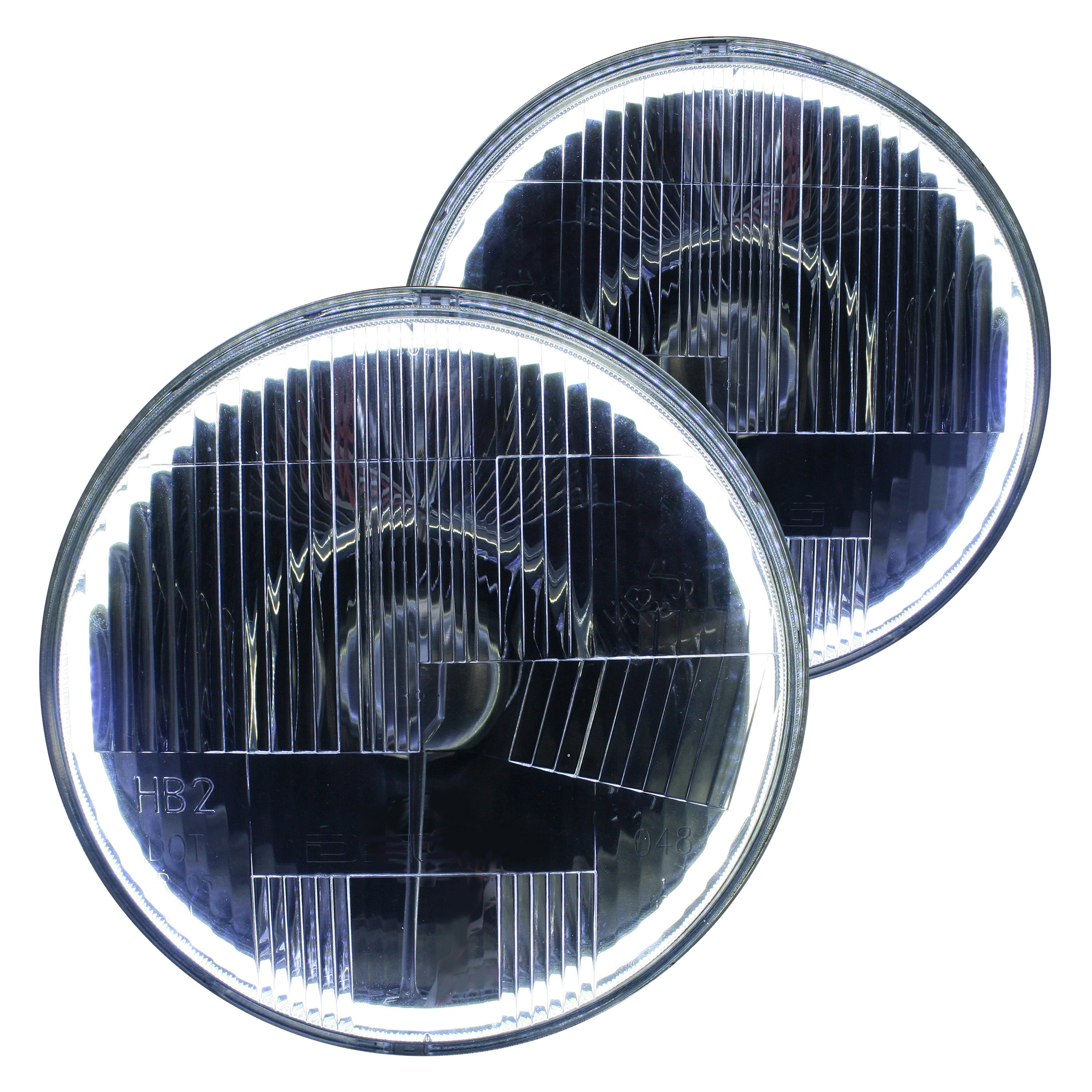 Delta Lights 7 Round Chrome Halo Led Factory Style Composite Headlights With Turn Signal