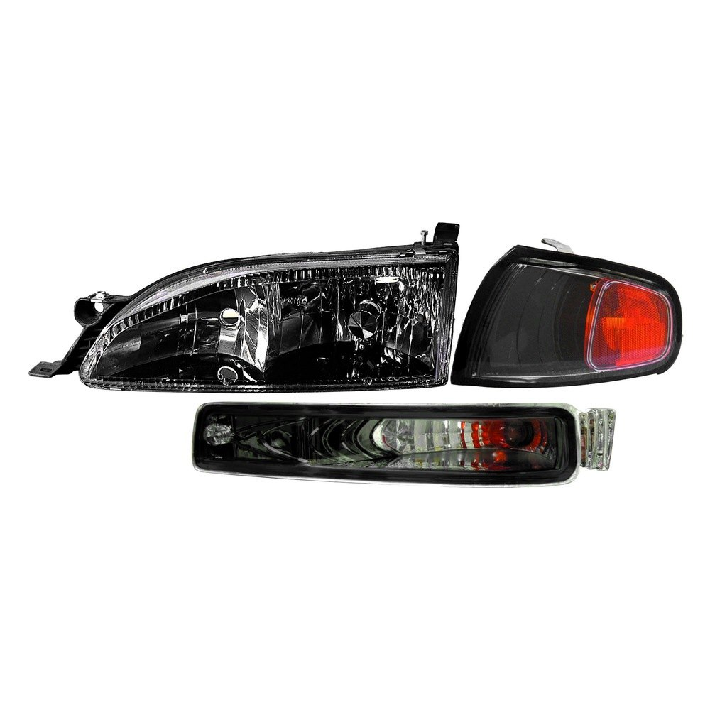 Depo Diamond Design Driver And Penger Side Black Headlights
