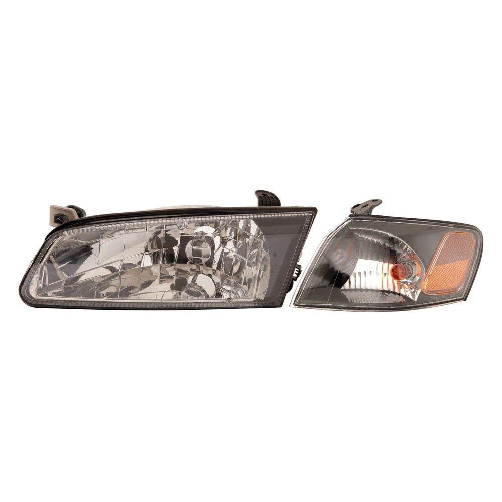 Depo 3121117fxas2 Diamond Design Driver And Penger Side Black Headlights With Turn Signal Light
