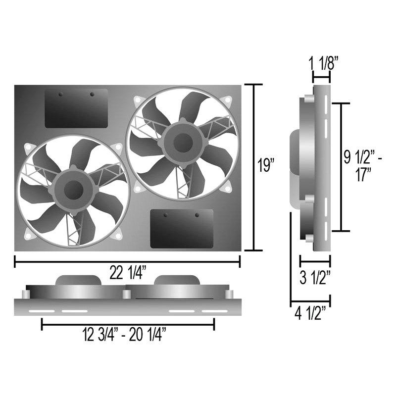 Derale Performance® - Dual Electric Radiator Fan with Aluminum Shroud ...