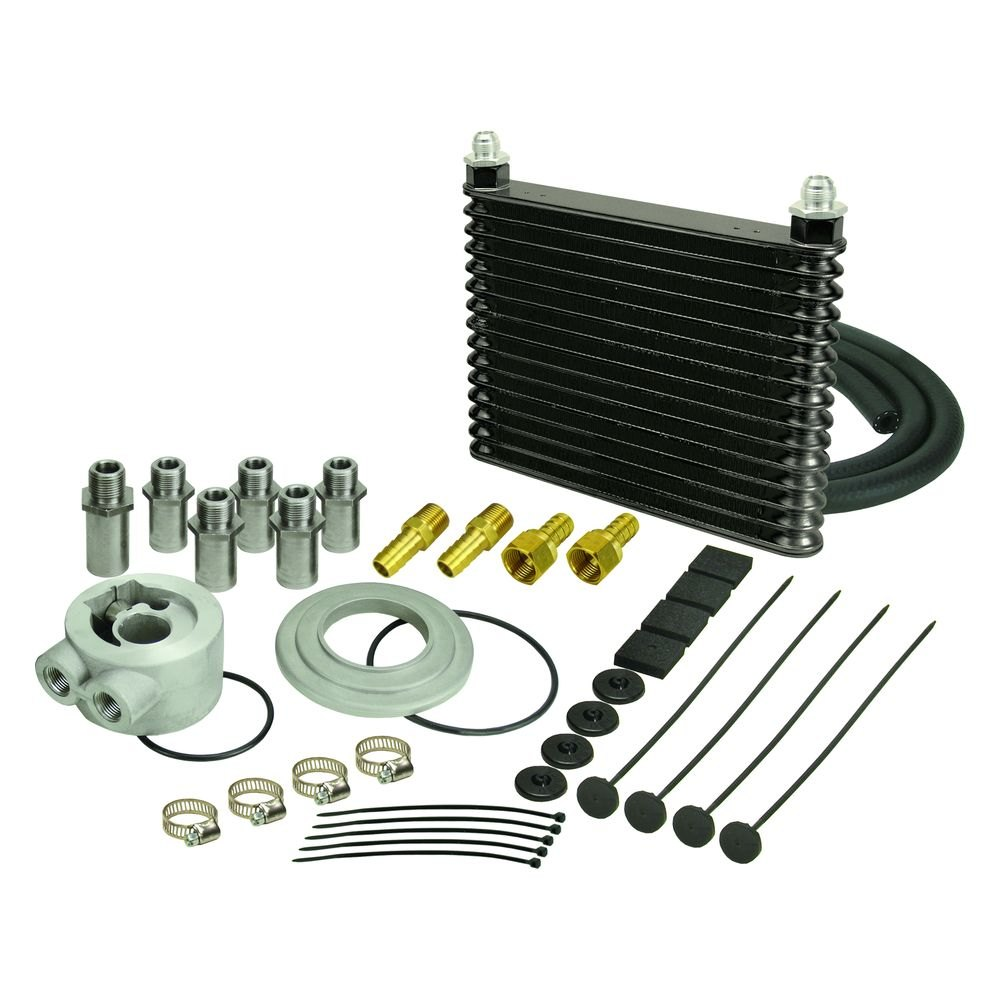 Motor Oil Coolers : Derale performance plate and fin oil cooler kit