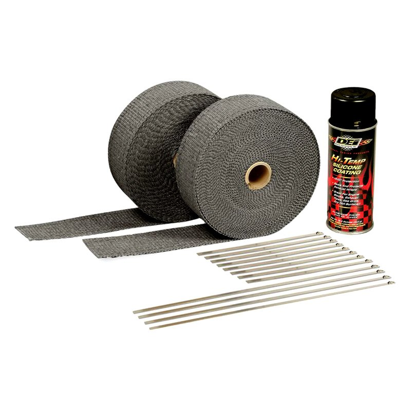 Design Engineering® 010112 - Tan Exhaust Wrap Kit with Hi-Temp Silicone  Coating Spray