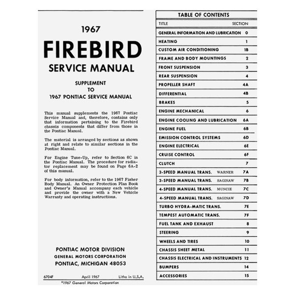 Detroit Iron® DPRGM-138-67SM-SUP - 1967 Pontiac Firebird Service Manual  Supplement