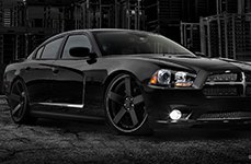 Dropstars 644B Satin Black with Machined Groove on Dodge Charger