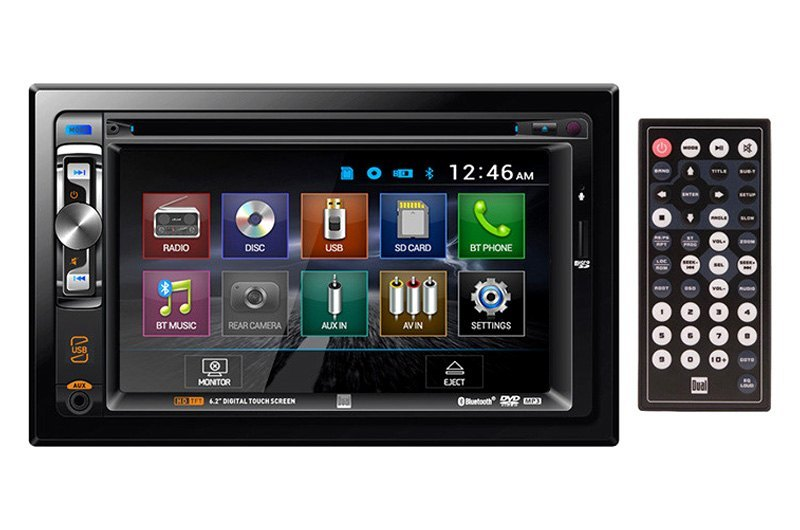 Dual® XDVD256BT - Double DIN DVD/CD/AM/FM/MP3/WMA/AAC/AVI Receiver with  6 2