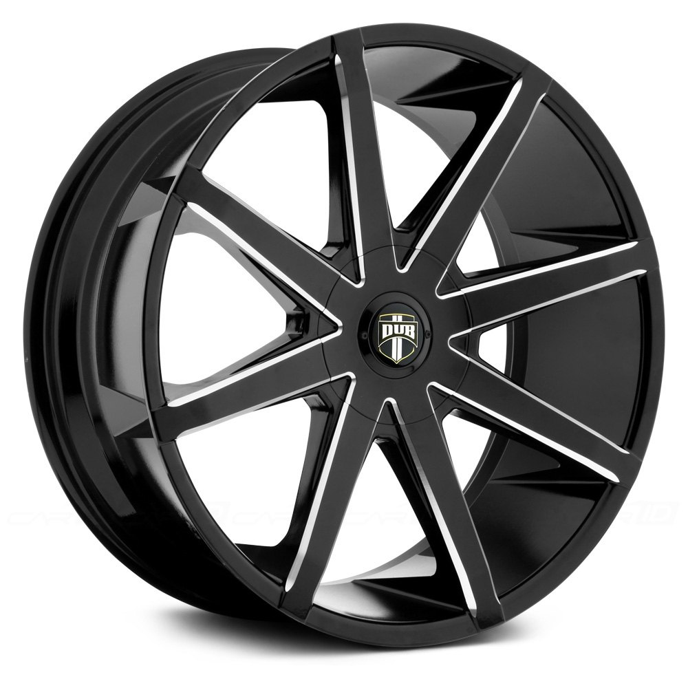 Dub 174 Push Wheels Black With Milled Accents Rims